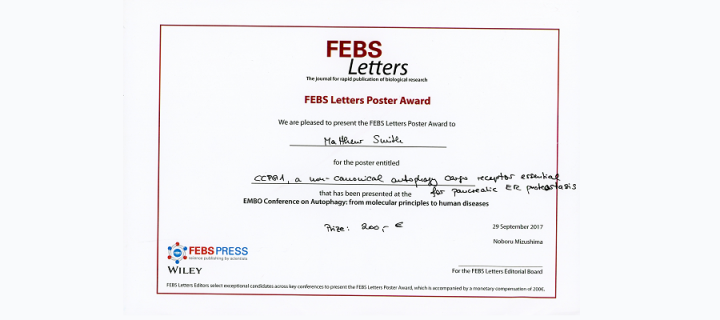 Matthew Smith's FEBS letters poster prize certificate