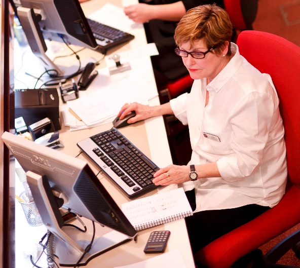 Image of member of staff working on a computer
