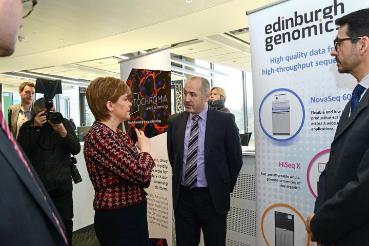 Chief Operating Officer Joel Fearnley and Roslin scientist Dr Javier Santoyo Lopez introducing Edinburgh Genomics to the First Minister.