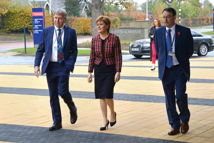 Nicola Sturgeon is welcomed by University's Principal Peter Mathieson and Head of School David Argyle on her arrival to the campus.