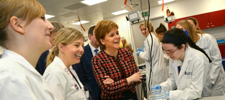 First Minister Nicola Sturgeon talks to school pupils during a science workshop at the Easter Bush Outreach Centre