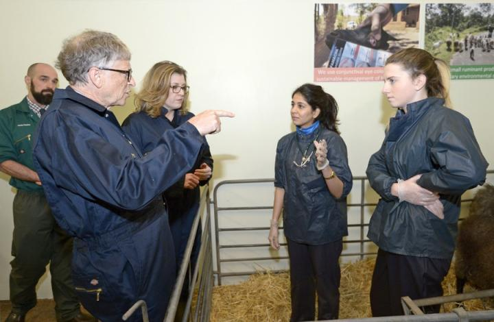 Secretary of State Penny Mordaunt and Bill Gates visiting the farm on the Easter Bush Campus.