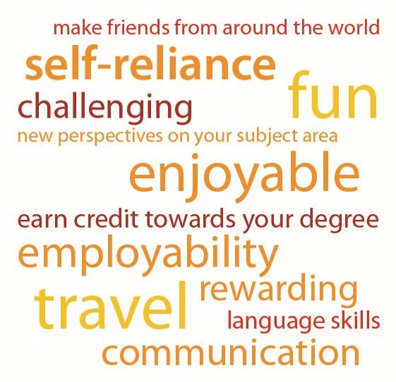 Word cloud - benefits of Go Abroad