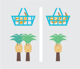 Basket with on bunch of bananas, and two banana trees versus two bunches of bananas in basket and one tree