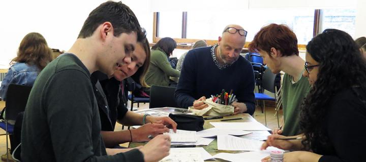 Photo of students in a graphic novel workshop