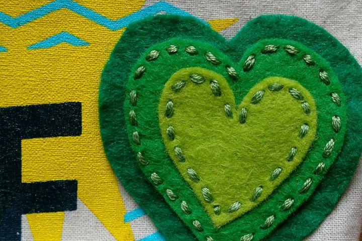 Photo of a crafted green heart