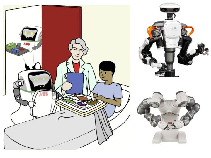 Person sat in hospital bed eating meal with doctor holding clipboard and robot next to bed.