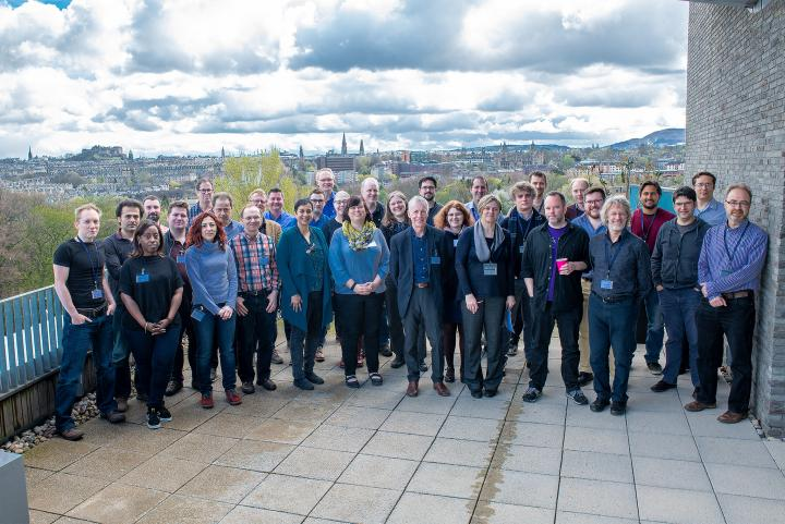 HGU and Harwell researchers on IGMM balcony