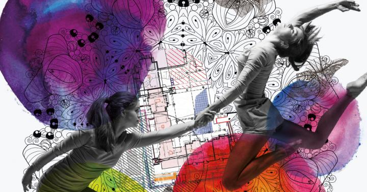 Two people dancing in front of a colorful background with line drawings