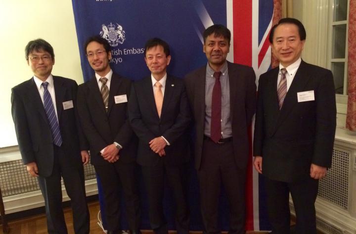 Hitachi representatives with Sethu Vijayakumar at the British Embassy, Tokyo, 2015