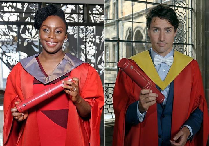 Honorary graduates Chimamanda Adichie and Justin Trudeau