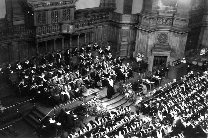 Ian Malcolm being capped by then-Principal Sir Edward Appleton at the graduation ceremony on 8 July 1960 in McEwan Hall.