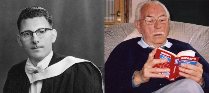 Left : Ian Malcolm in his graduation robes in 1960, right: Ian in recent times reading a French dictionary