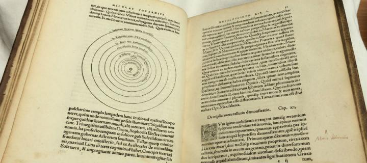 Photo of the first edition book by Nicolaus Copernicus, which will be on show at the exhibition