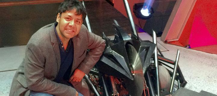 Photo of Professor Sethu Vijayakumar on the set of Robot Wars