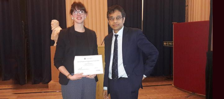 Dr Ingrid Hoeritzauer is presented with the John D Matthews Award by Professor Siddharthan Chandran