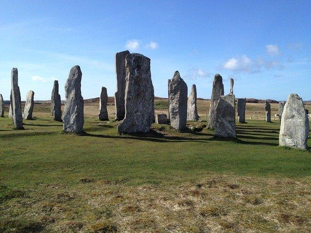 Standing stones of the Isle of Lewis in the sun
