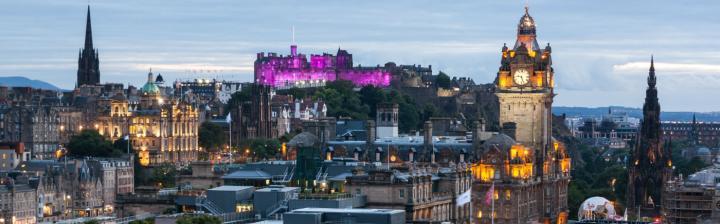 Edinburgh skyline purple Castle