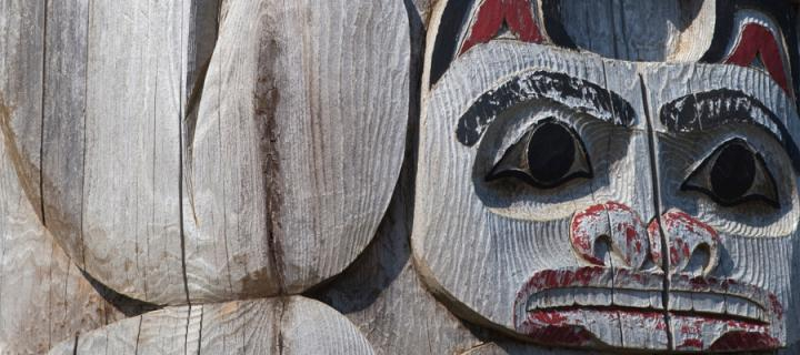 Totem pole with carved bears