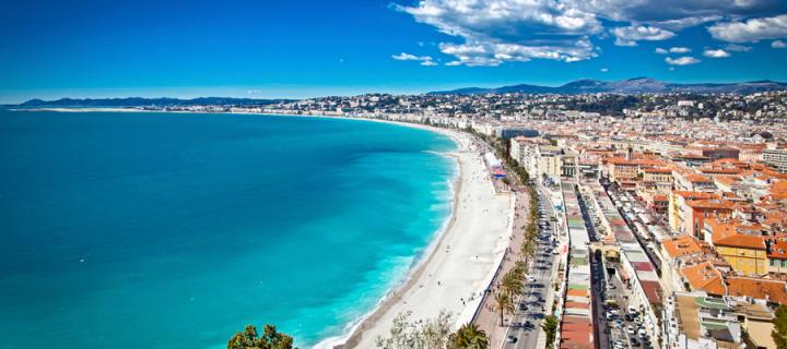 The beach at Nice in France
