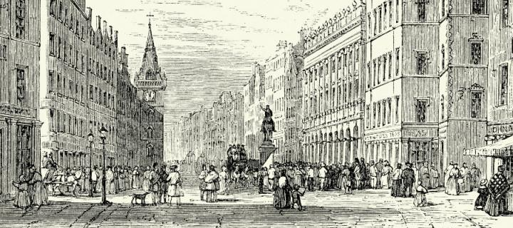 A nineteenth-century illustration of the Trongate and Old Exchange in Glasgow.
