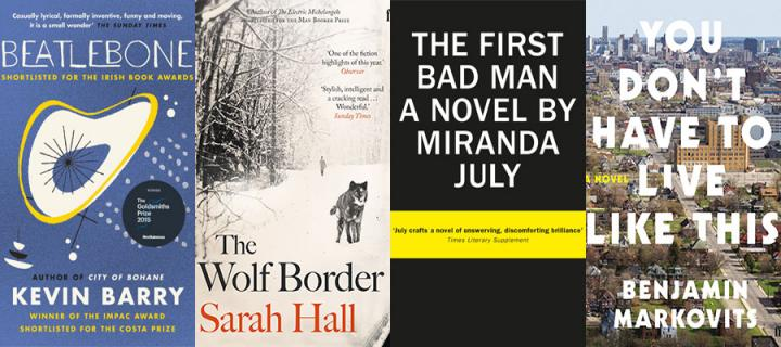 Montage of book jackets from the books that have been shortlisted for the 2015 James Tait Black Prize for Fiction