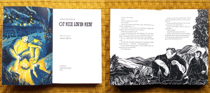 Two illustrated inside spreads from 'Of Mice and Men'.
