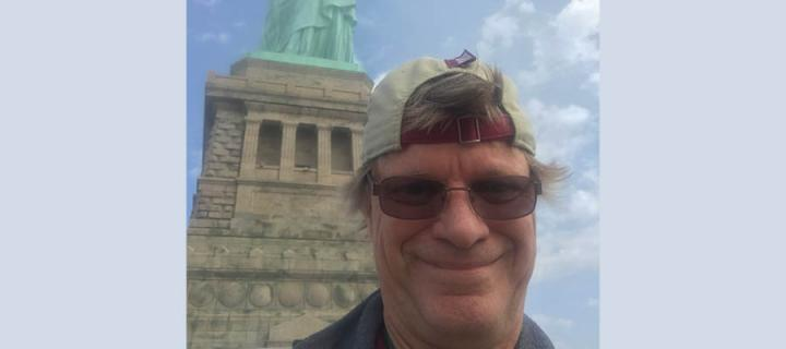 James Miculka at the Statue of Liberty