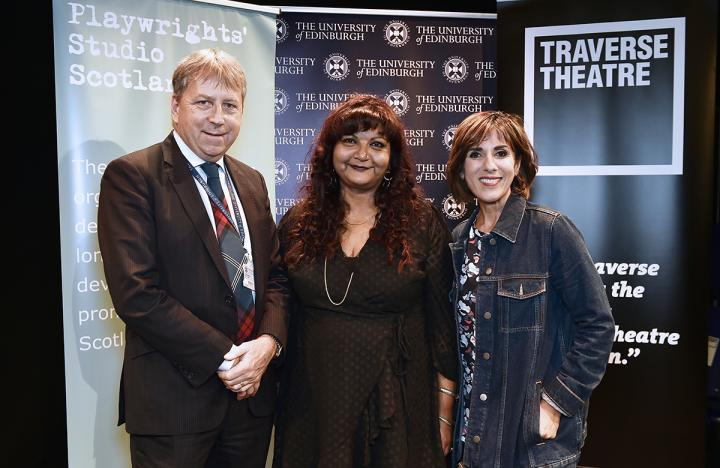 Principal Professor Peter Mathieson, winner Tanika Gupta and television and radio presenter Shereen Nanjiani.