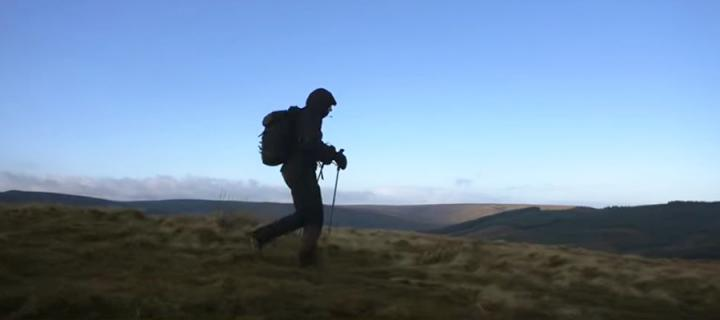 Jasmin on the hills during the Montane Spine Race.