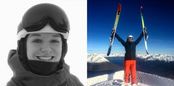 Alumna JJ Bate in ski gear (left) and on top of a snowy peak (right).