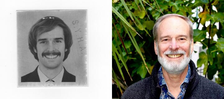 John Esling as pictured as a PhD student in the 70s and in recent times.