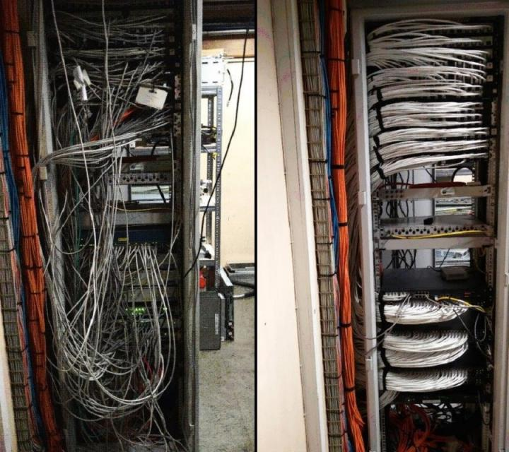 Kennedy Tower server room - before and after