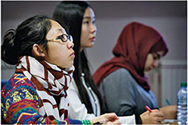 International students at a lecture