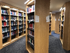 Image of the new octagonal shelving at the Law Library