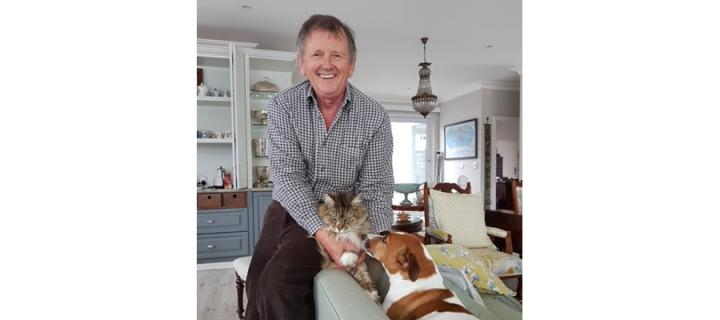 Lawson Cairns with his cat and dog.
