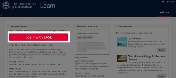 Location of EASE login button on Learn homepage