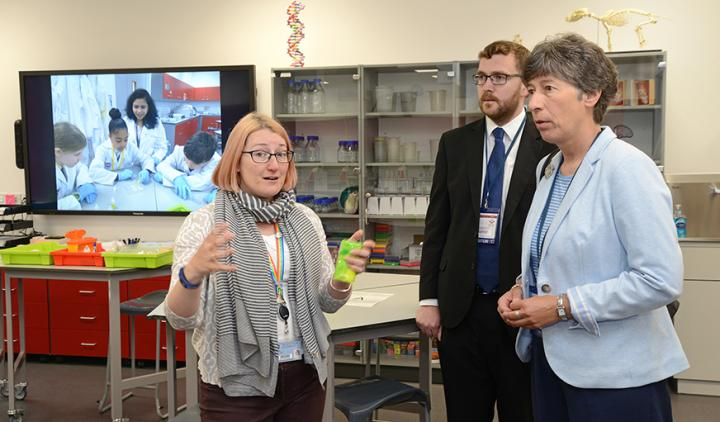 Liz Smith and Oliver Mundell in the EBSOC lab