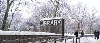 Main Library in the snow