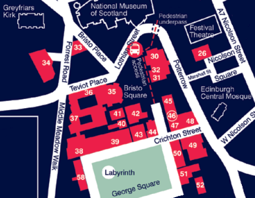 Map of central area showing Chaplaincy, near Potterrow Shop