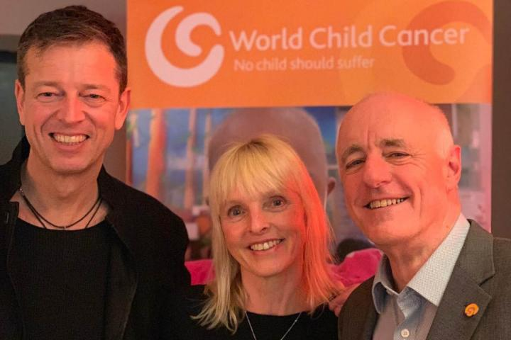 Mark with his wife Sarah and Jon Rosser (Chief Executive, World Child Cancer)