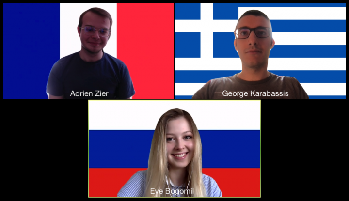 Screenshot of a zoom call of two boys and a girl, all with flags as their backgrounds.