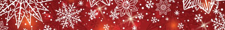 Christmas banner image: Red with white snowflakes