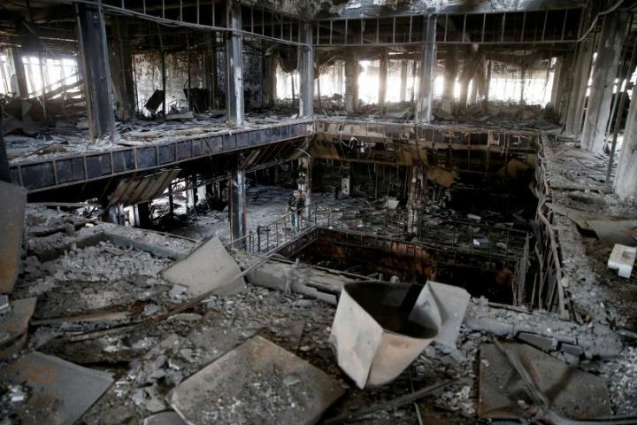 Damage done at the University of Mosul by IS attacks in Iraq