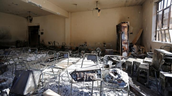 A lecture room at the University of Mosul damaged by IS attacks in Iraq