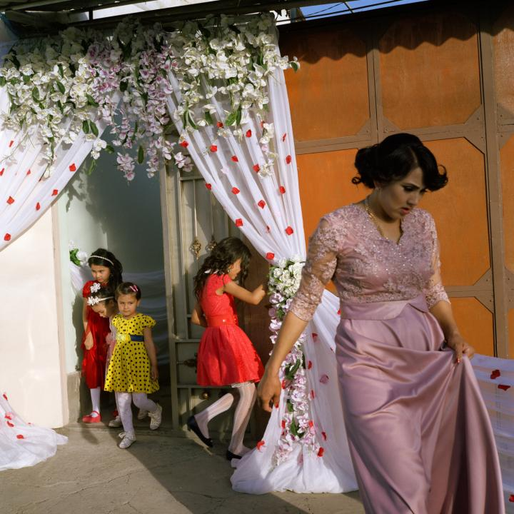 Uzbek Wedding preparations near a Korean cultural centre and a language school in the district of Mirabad in Tashkent, Uzbekista