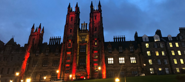 New College lit in red for Great War