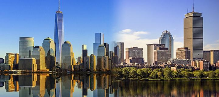 New York and Boston skylines