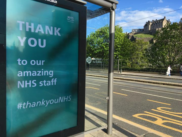 An NHS thank you sign on Princes Street Edinburgh.