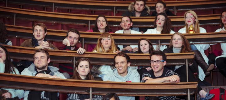 Medical students listen to Professor Gordon Findlater in the Anatomy Lecture Theatre